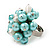 Freshwater Pearl & Bead Cluster Silver Tone Ring (Light Blue & Light Cream) - Adjustable - view 4