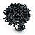 Dark Grey Glass Bead Flower Stretch Ring