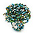 Multicoloured Glass Bead Flower Stretch Ring (Light Blue, Green & White)