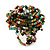 Large Multicoloured Glass Bead Flower Stretch Ring (Green, Black, Orange & White)
