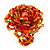 Large Multicoloured Glass Bead Flower Stretch Ring (Orange, Gold & Red)