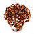 Multicoloured Glass Bead Flower Stretch Ring (Brown, Orange, White & Gold)