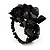 Black Semiprecious Chip Cluster Flex Ring - view 1