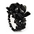 Black Semiprecious Chip Cluster Flex Ring - view 2