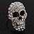 Dazzling Crystal Skull Ring In Rhodium Plated Metal - Adjustable