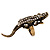 Burn Gold Diamante Crocodile Ring - Adjustable - view 8