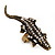 Burn Gold Diamante Crocodile Ring - Adjustable - view 2
