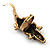Burn Gold Diamante Crocodile Ring - Adjustable - view 3