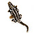 Burn Gold Diamante Crocodile Ring - Adjustable - view 6