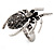 Stunning Black Crystal Spider Cocktail Ring in Burnt Silver Plating - view 6