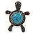 Turquoise Diamante Turtle Ring In Burn Silver Metal - view 5