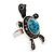 Turquoise Diamante Turtle Ring In Burn Silver Metal - view 3