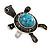 Turquoise Diamante Turtle Ring In Burn Silver Metal - view 8