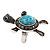Turquoise Diamante Turtle Ring In Burn Silver Metal - view 6