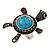 Turquoise Diamante Turtle Ring In Burn Silver Metal - view 9