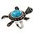 Turquoise Diamante Turtle Ring In Burn Silver Metal - view 4