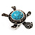 Turquoise Diamante Turtle Ring In Burn Silver Metal - view 10
