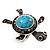 Turquoise Diamante Turtle Ring In Burn Silver Metal - view 10
