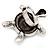 Turquoise Diamante Turtle Ring In Burn Silver Metal - view 7