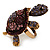 Large Purple Crystal Turtle Ring In Burn Gold Metal - Adjustable - view 7