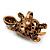 Large Purple Crystal Turtle Ring In Burn Gold Metal - Adjustable - view 6