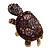Large Purple Crystal Turtle Ring In Burn Gold Metal - Adjustable - view 12