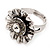 Floral Diamante Fancy Ring In Burn Silver Metal - view 6