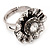 Floral Diamante Fancy Ring In Burn Silver Metal - view 7