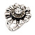 Floral Diamante Fancy Ring In Burn Silver Metal - view 2