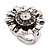 Floral Diamante Fancy Ring In Burn Silver Metal - view 4
