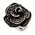 Vintage Diamante Rose Ring In Burn Silver Finish - 2cm Diameter