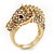 Gold Plated Crystal 'Horse' Ring