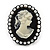 Black Simulated Pearl Cameo Young Lady Ring - Adjustable - 7/9 Size - 3cm Length - view 2