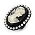 Black Simulated Pearl Cameo Young Lady Ring - Adjustable - 7/9 Size - 3cm Length - view 8