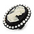 Black Simulated Pearl Cameo Young Lady Ring - Adjustable - 7/9 Size - 3cm Length - view 7