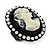 Black Simulated Pearl Cameo Young Lady Ring - Adjustable - 7/9 Size - 3cm Length - view 3