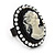 Black Simulated Pearl Cameo Young Lady Ring - Adjustable - 7/9 Size - 3cm Length - view 6