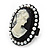 Black Simulated Pearl Cameo Young Lady Ring - Adjustable - 7/9 Size - 3cm Length - view 4