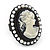 Black Simulated Pearl Cameo Young Lady Ring - Adjustable - 7/9 Size - 3cm Length