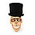 Gold Plated 'Black Hat Skull' Ring - Adjustable (Size 7/8) - 4cm Length - view 6