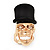 Gold Plated 'Black Hat Skull' Ring - Adjustable (Size 7/8) - 4cm Length - view 7