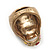 Vintage Textured Mulicoloured 'Skull' Ring In Matte Gold Metal - view 5