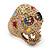 Vintage Textured Mulicoloured 'Skull' Ring In Matte Gold Metal