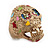 Vintage Textured Mulicoloured 'Skull' Ring In Matte Gold Metal - view 9