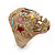 Vintage Textured Mulicoloured 'Skull' Ring In Matte Gold Metal - view 6