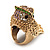 Vintage Chunky Textured &#039;Owl&#039; Ring In Antique Gold Metal (heavy) - view 3