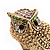 Vintage Chunky Textured &#039;Owl&#039; Ring In Antique Gold Metal (heavy) - view 6