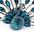 Stunning Turquoise Coloured Swarovski Crystal 'Peacock' Flex Ring In Silver Metal - 7.5cm Length (Size 7/8) - view 3