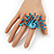 Stunning Turquoise Coloured Swarovski Crystal 'Peacock' Flex Ring In Silver Metal - 7.5cm Length (Size 7/8) - view 2