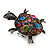 Multicoloured Crystal 'Turtle' Flex Ring In Burn Silver Metal - 5.5cm Length - (Size 7/9) - view 4